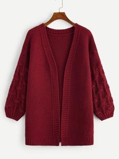 Crochet Knit Sleeve Open Front Cardigan