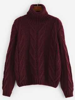 Rolled neck Cable Knit Jumper