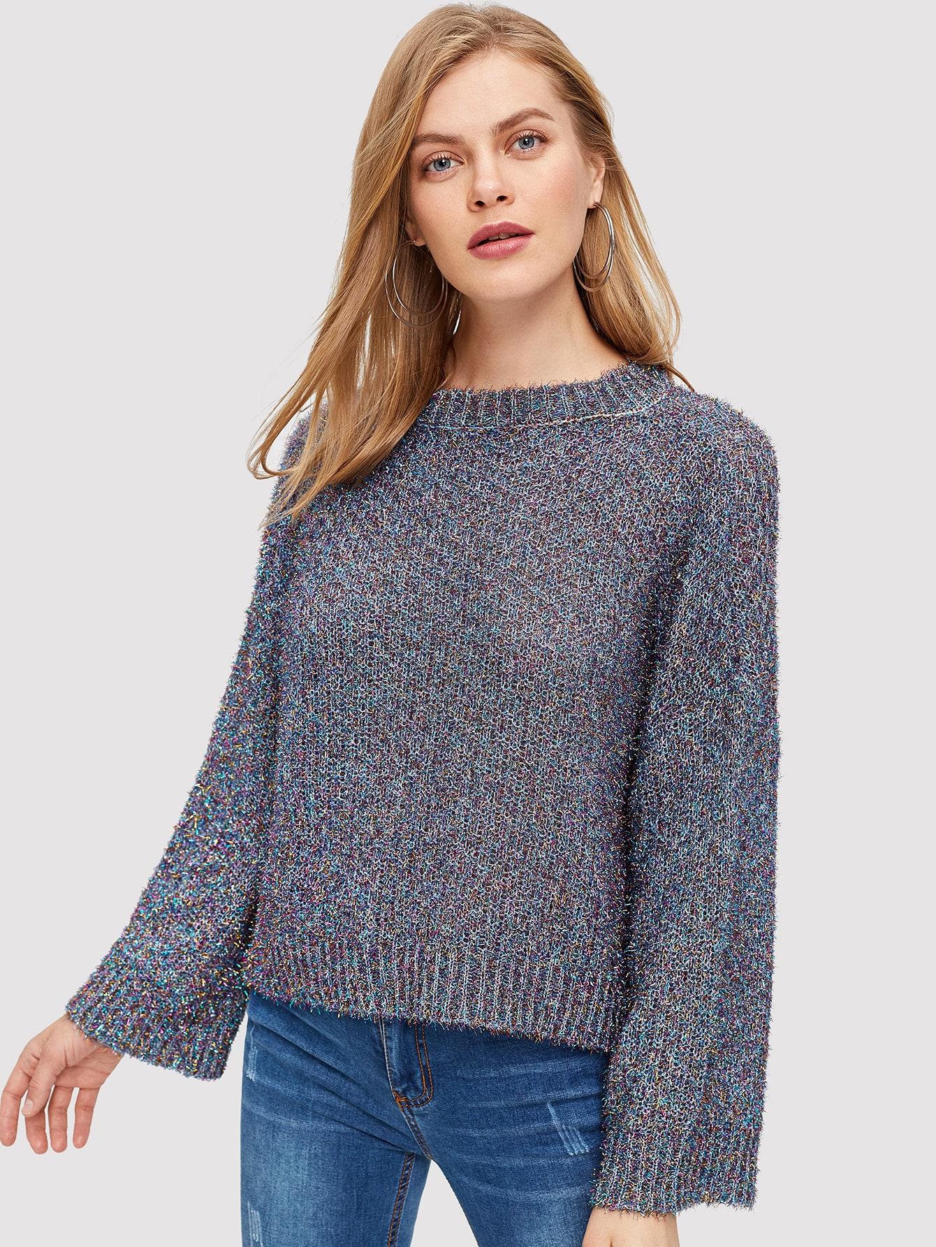 Пепельный свитер с вязяной ребристой отделкой, Kate C, SheIn  - купить со скидкой