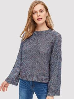 Marled Knit Ribbed Trim Sweater