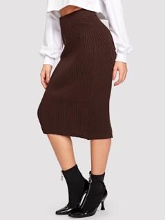 Slit Back Rib-knit Skirt