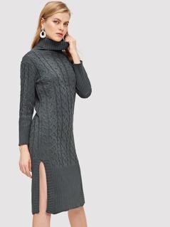 Slit Side Mixed Knit High Neck Knit Dress