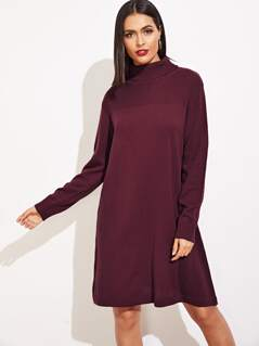 Cut-And-Sew Rolled Neck Mixed Knit Dress