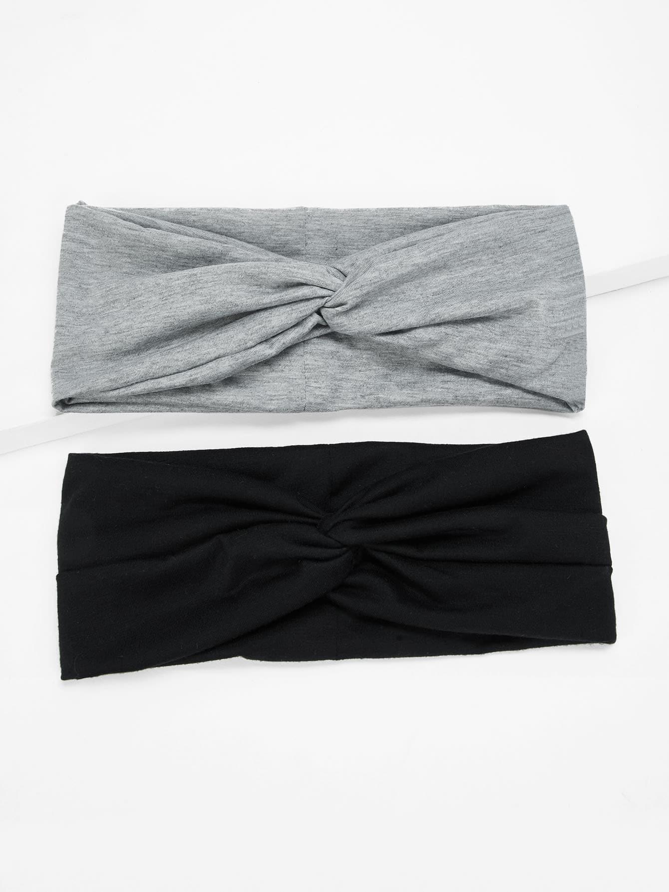 Купить Однотонная витая повязка на голову 2шт., null, SheIn