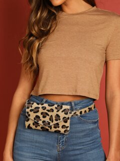 Faux Fur Fuzzy Leopard Ball Chain Trim Belt Bag