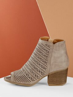 Laser Cut Out Peep Toe Chunky Heel Booties