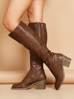 Stacked Heel Knee High Almond Toe Riding Boots