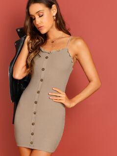 Button Detail Rib Knit Ruffle Trim Cami Mini Dress