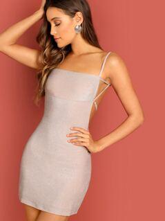 Square Neck Sparkly Knit Bodycon Mini Cami Dress