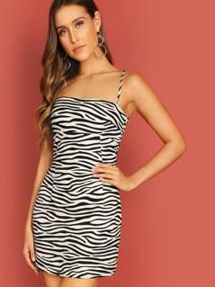 Straight Neck Woven Zebra Print Mini Cami Dress