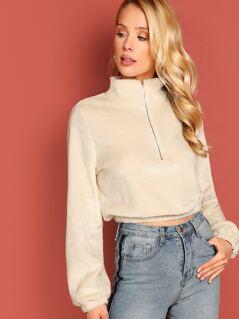 Elastic Cuff and Hem Crop Sweatshirt
