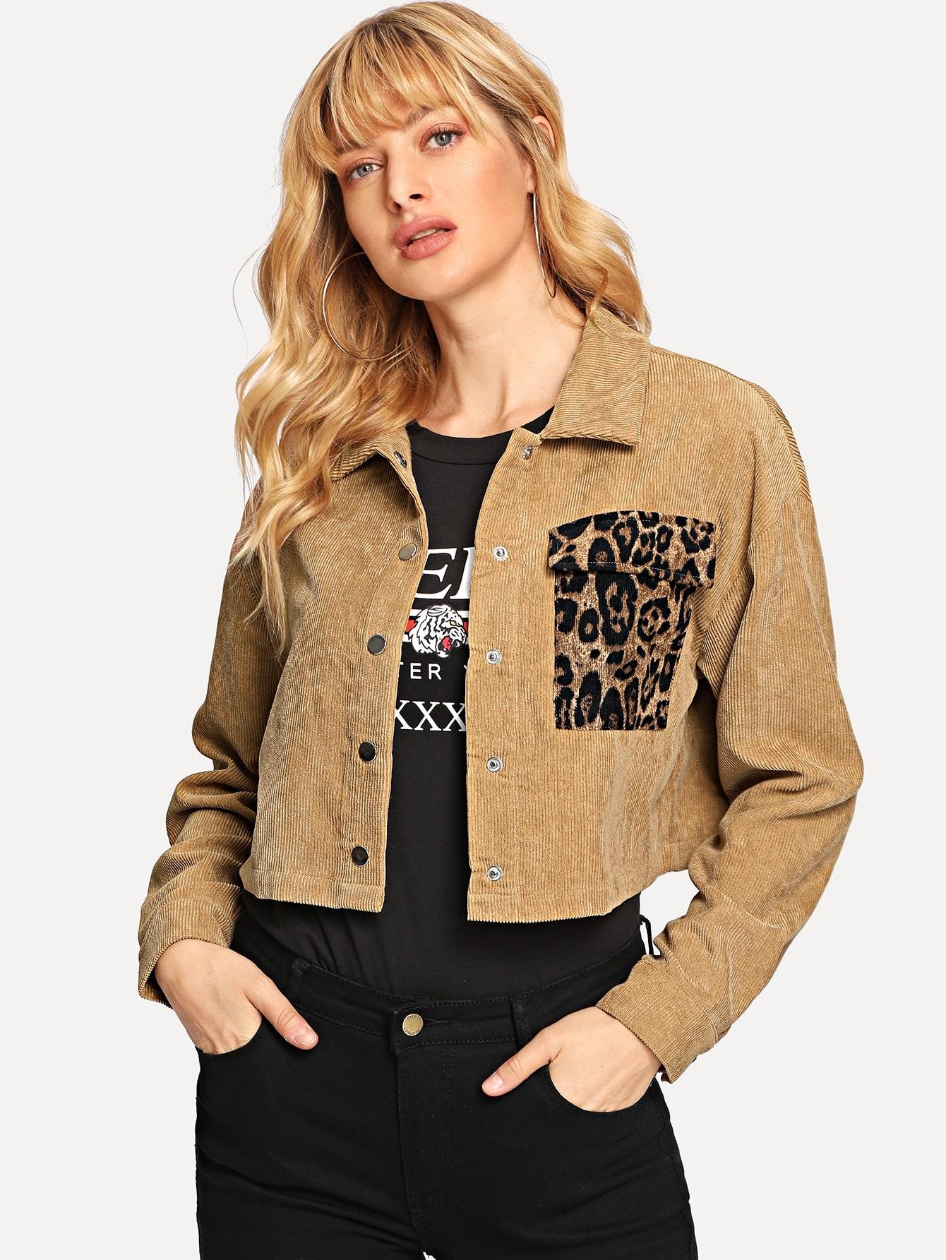 Купить Коричневый с карманами Леопардовый Повседневный Жакеты + Куртки, Masha, SheIn