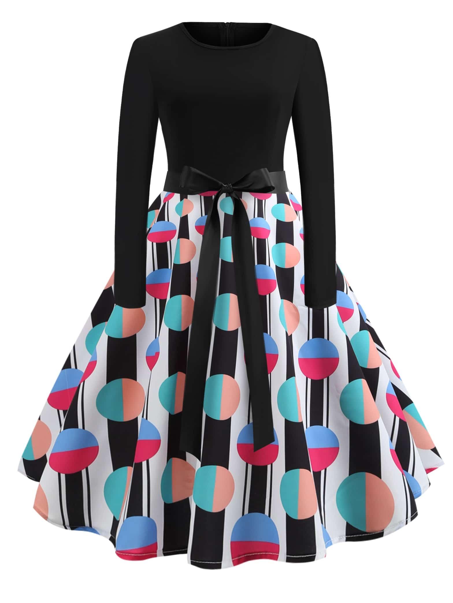 Купить 50s платье-клёш в горошек с поясом на талли, null, SheIn