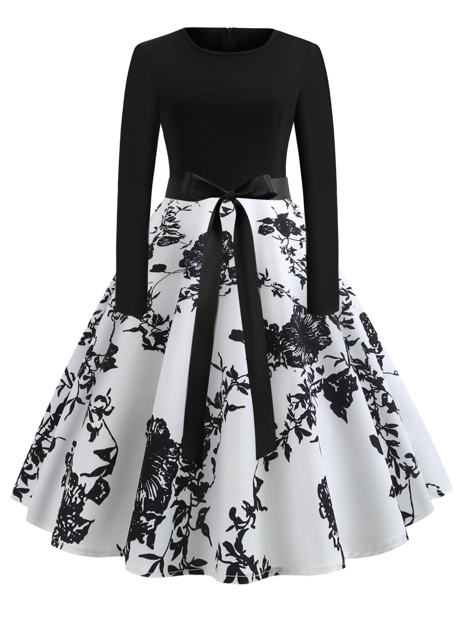 Купить 50s платье-клёш с поясом на талли и принтом цветочным, null, SheIn