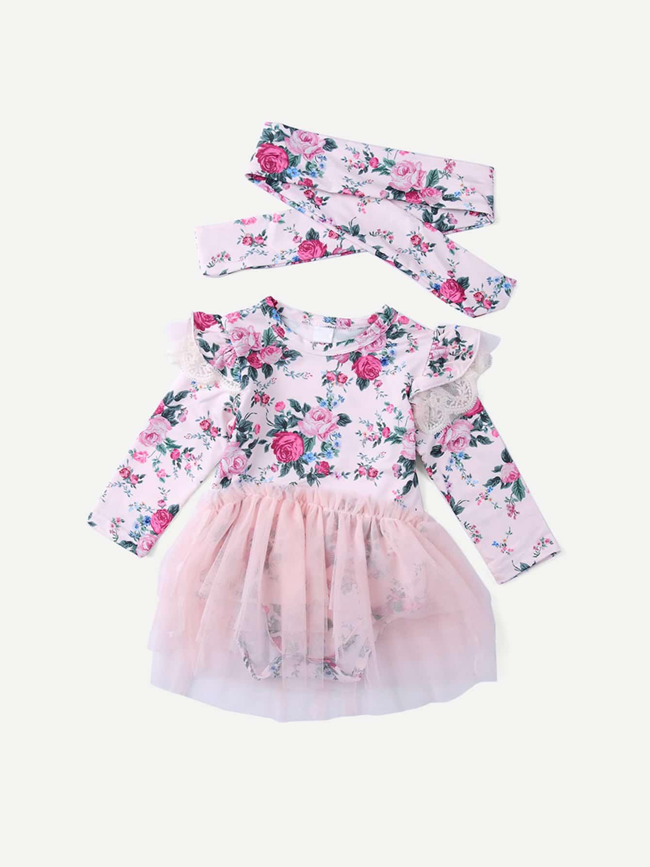 Купить Контрастный комбинезон с кружевными оборками и цветочным принтом и повязка на голову для маленьких девочек, null, SheIn