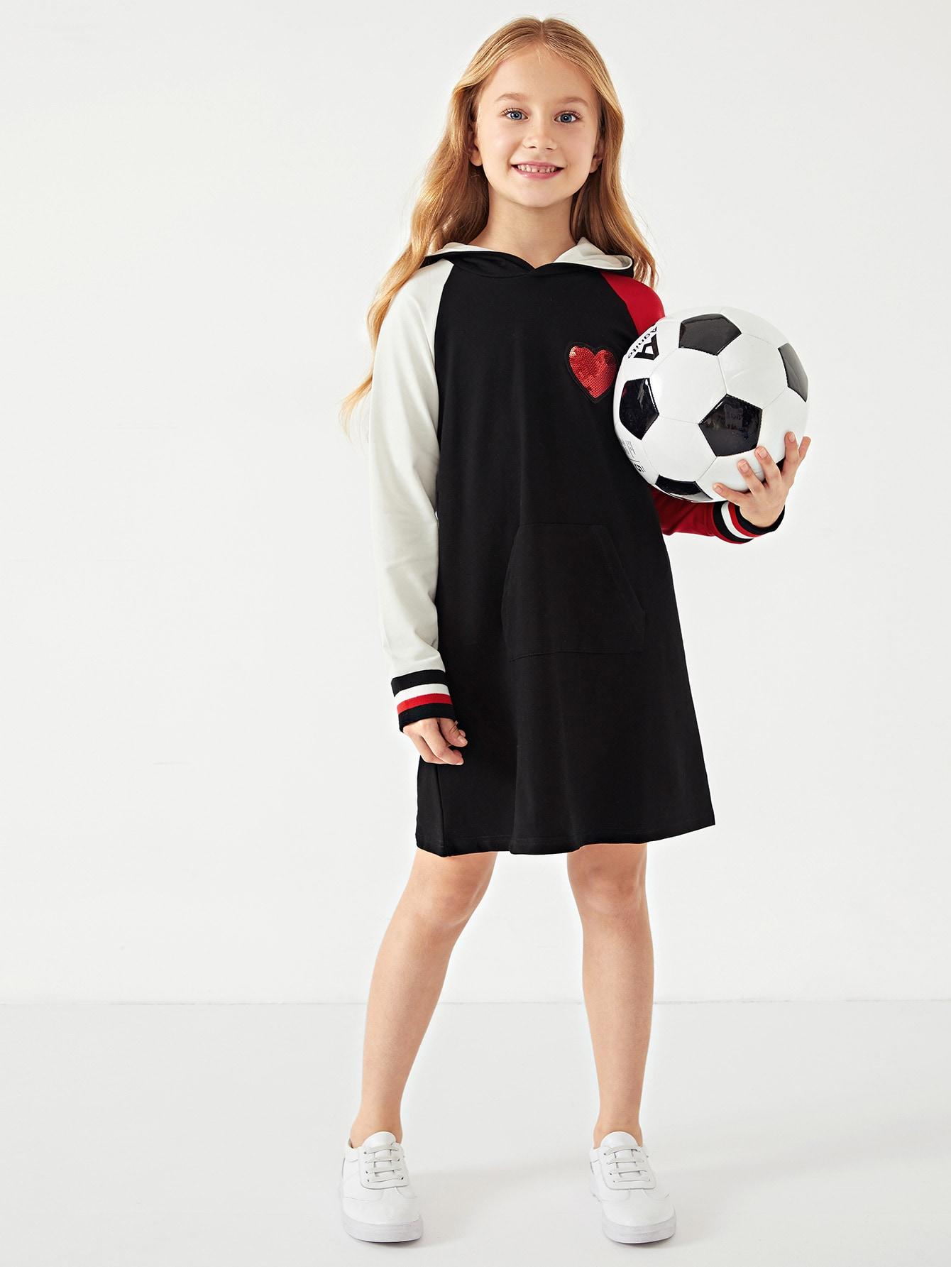 Купить Платье с капюшоном и контрастными пайетками для маленьких девочек, Dariab, SheIn