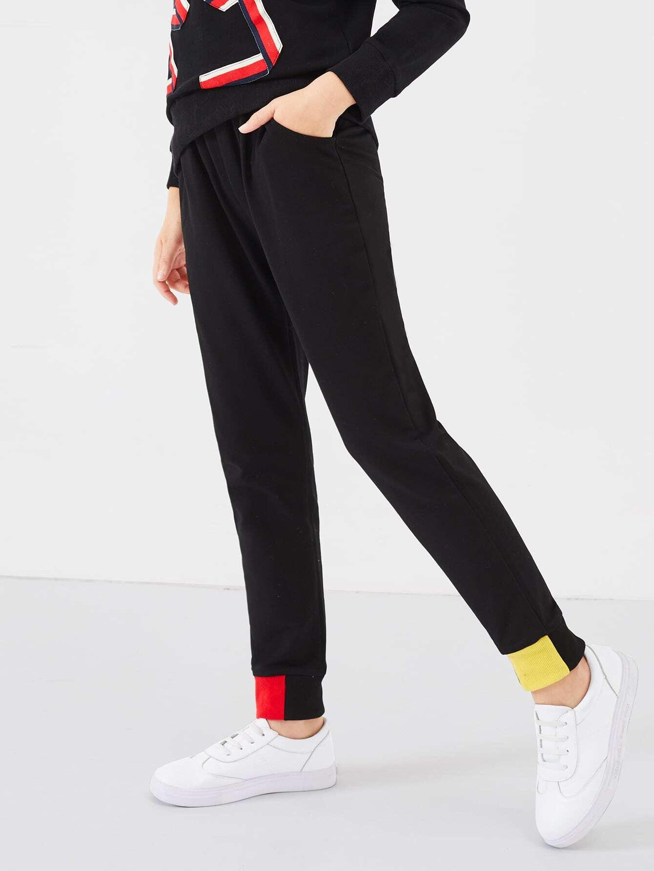 Купить Контрастные плоские брюки для девочек, Dariab, SheIn