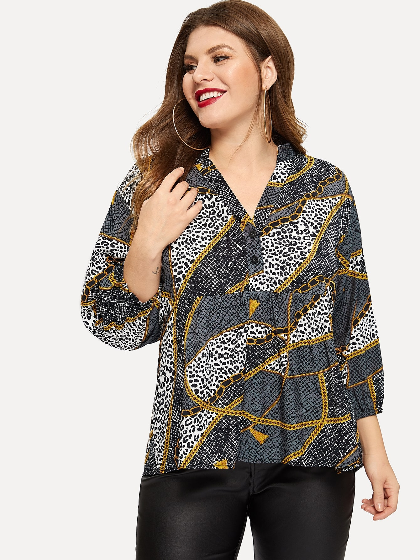 Купить Размера плюс блуза с принтом графическим и леопардовым, Isabela, SheIn