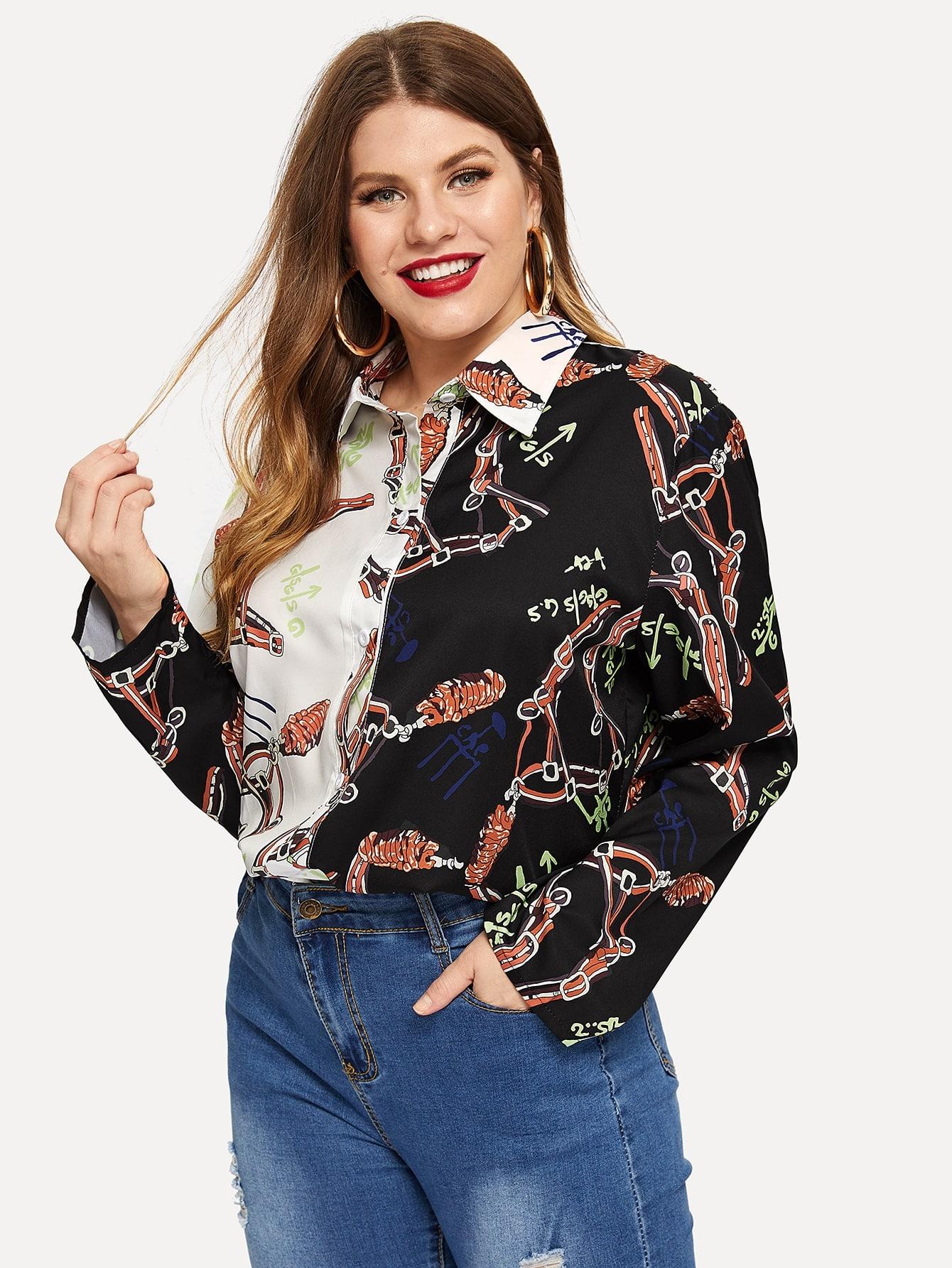 Купить Размера плюс контрастная плоская блуза с графическим принтом, Isabela, SheIn