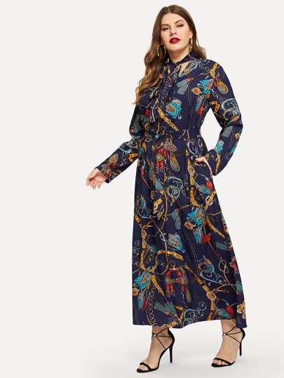 Plus Chain Print Self-tie Waist Dress