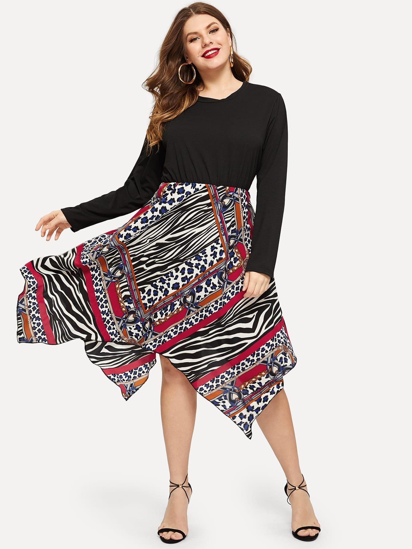 Купить Размера плюс асимметричное платье с контрастным леопардовым принтом, Isabela, SheIn