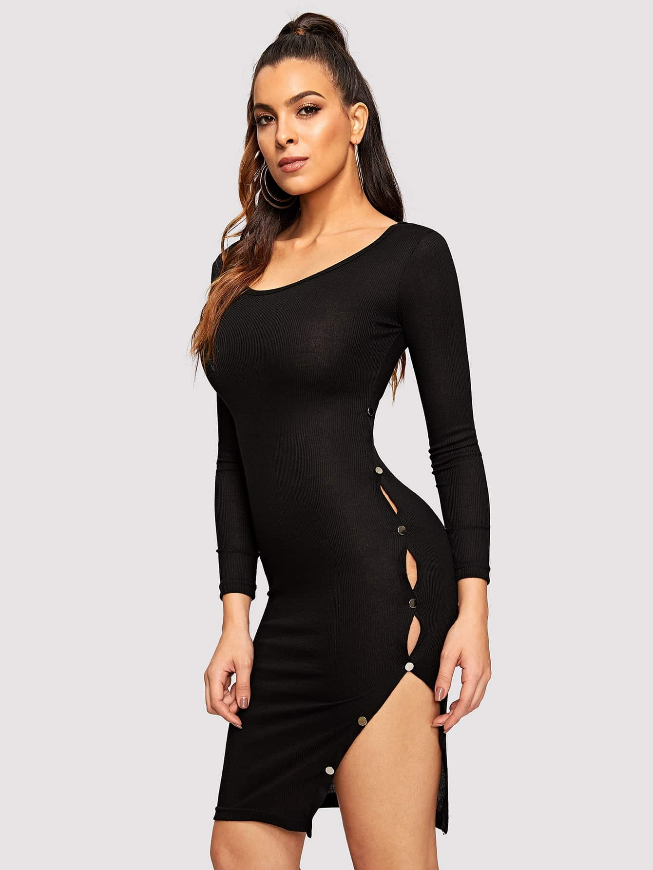 Купить Платье с пуговицами и разрезом, DANI A, SheIn