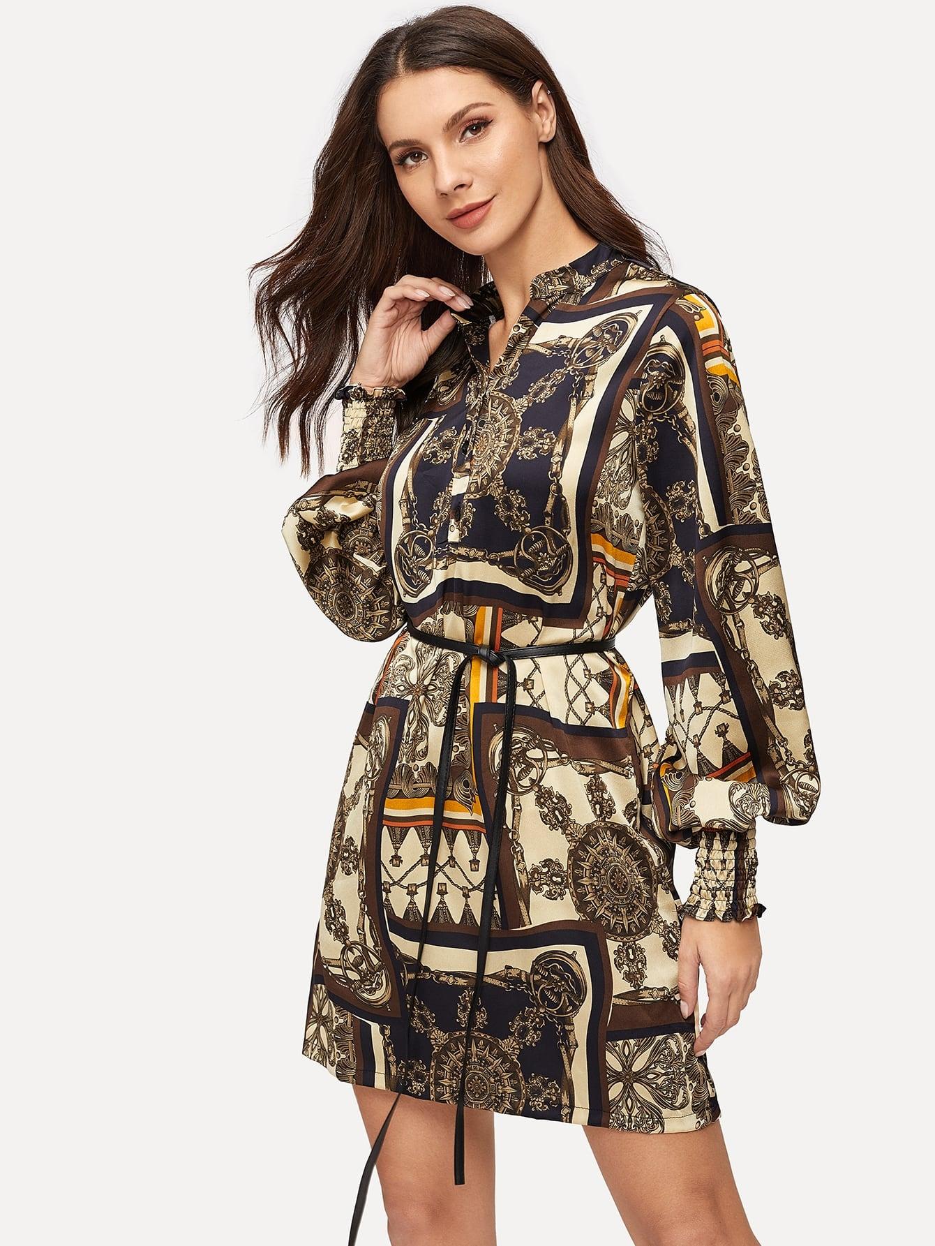 Купить Платье-рубашки с поясом и графическим принтом, Anna CH, SheIn
