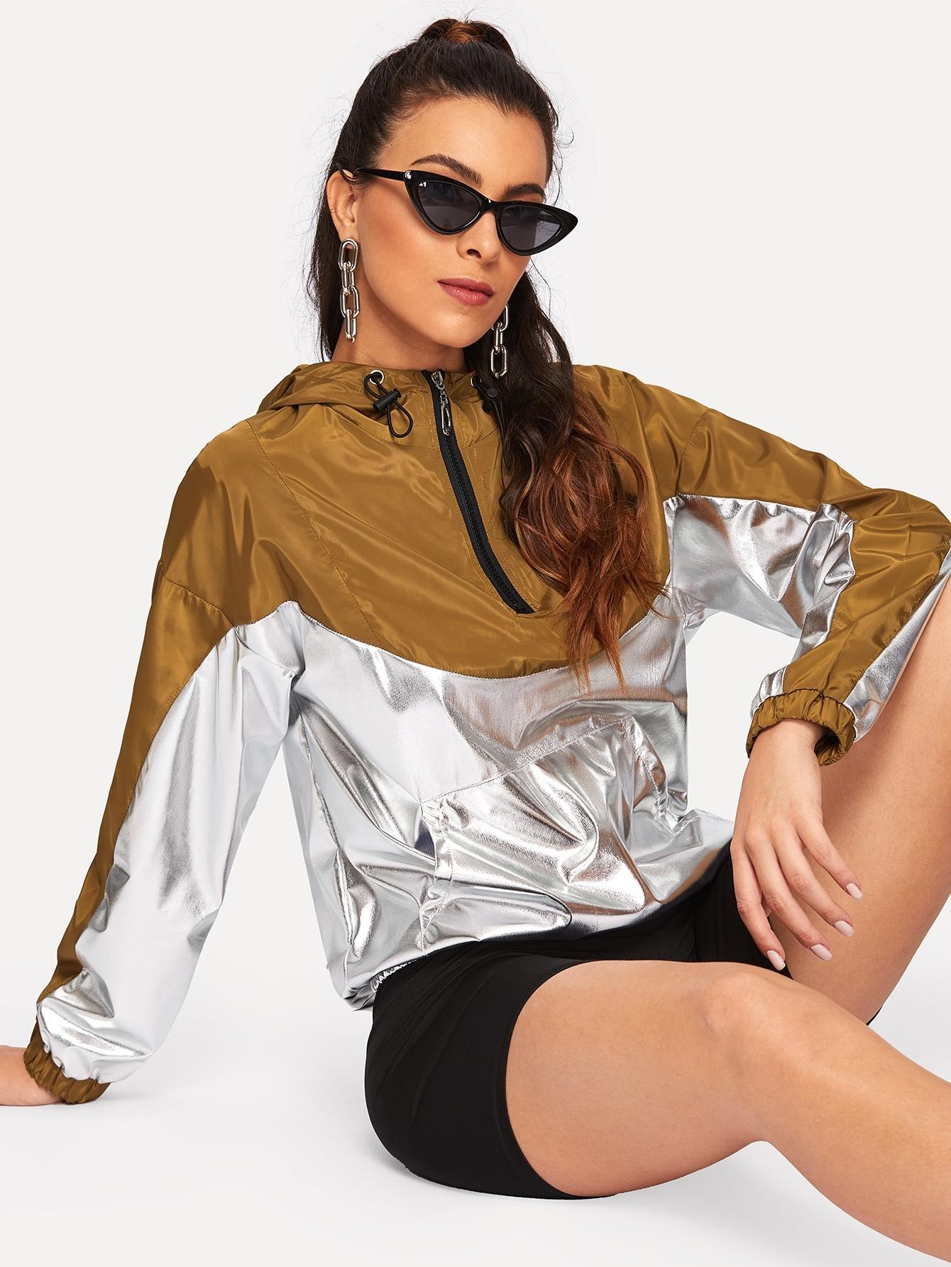 Купить Куртка с капюшоном и застёжкой молния, DANI A, SheIn