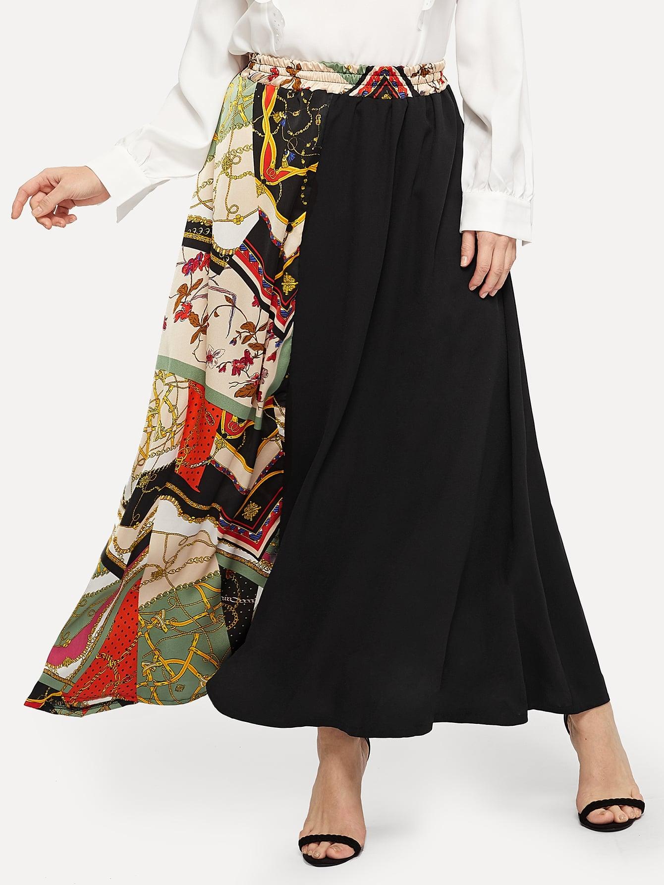 Купить Размера плюс юбка с контрастным графическим принтом, Isabela, SheIn
