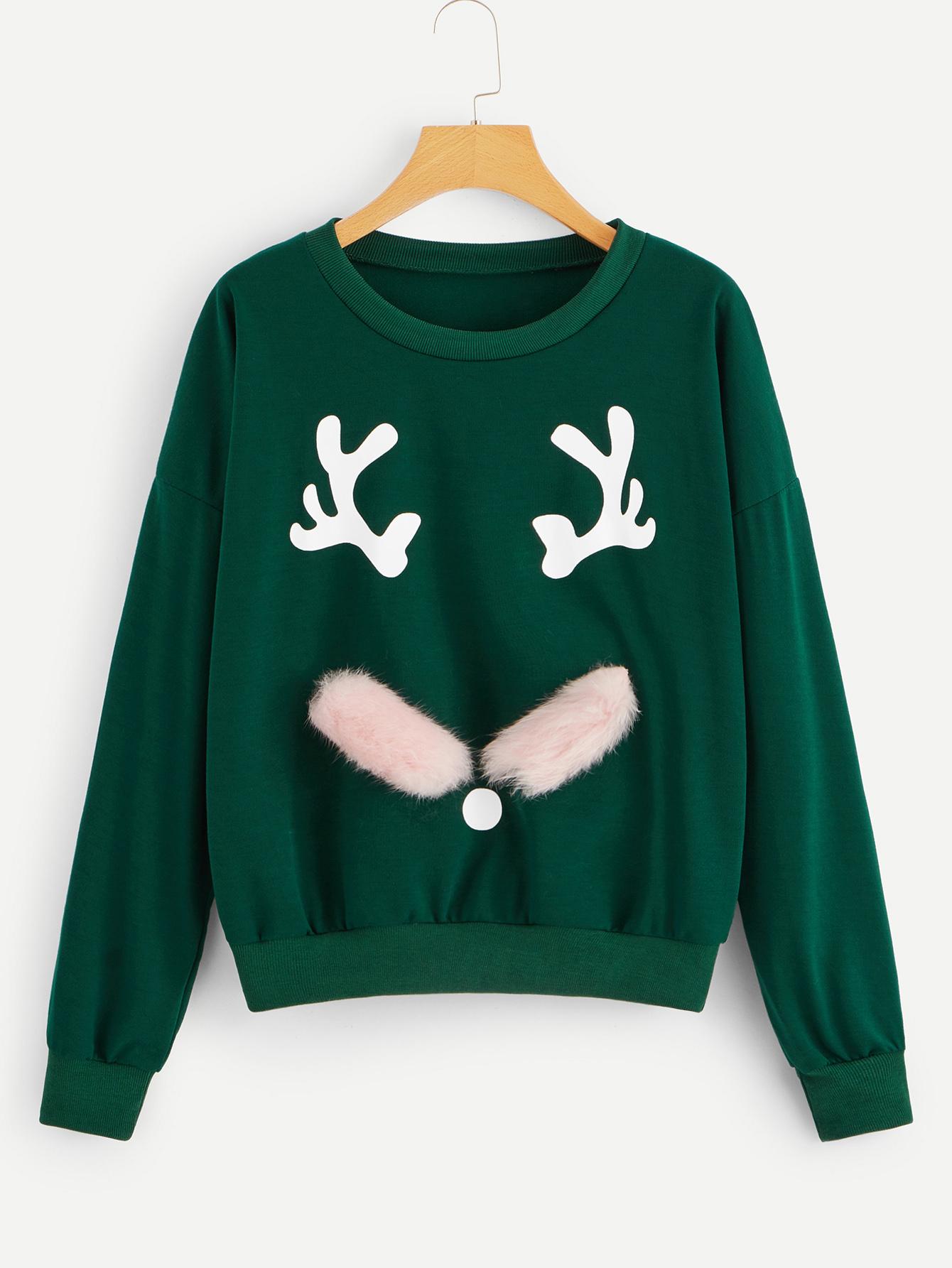 Купить Свитшот с заниженной линией плеч и рождественским принтом, null, SheIn