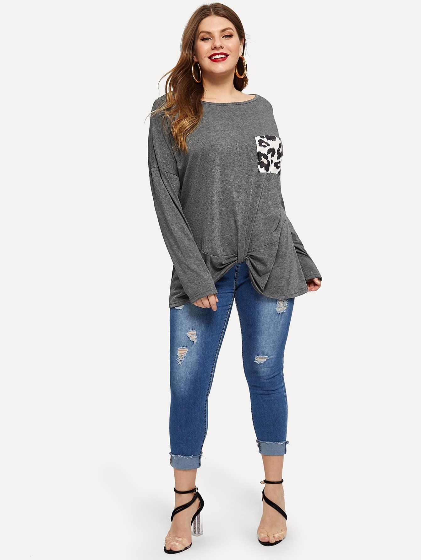 Купить Размера плюс футболка с контрастным леопардовым принтом, Isabela, SheIn