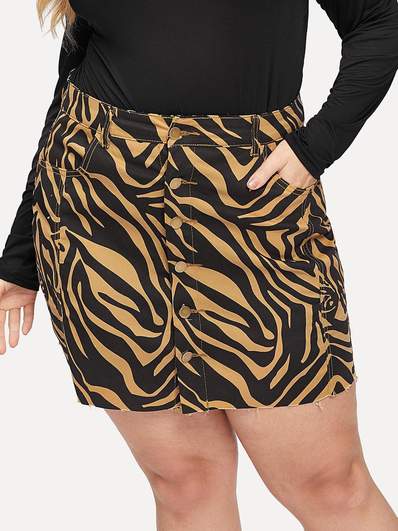 Купить Размера плюс джинсовая юбка с необработанным краем и зебра-полосатым принтом, Sasha O, SheIn