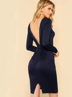 Twist V Back Slit Dress