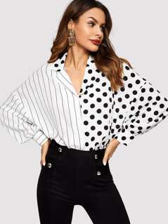Dot & Stripe Spliced Dolman Sleeve Shirt