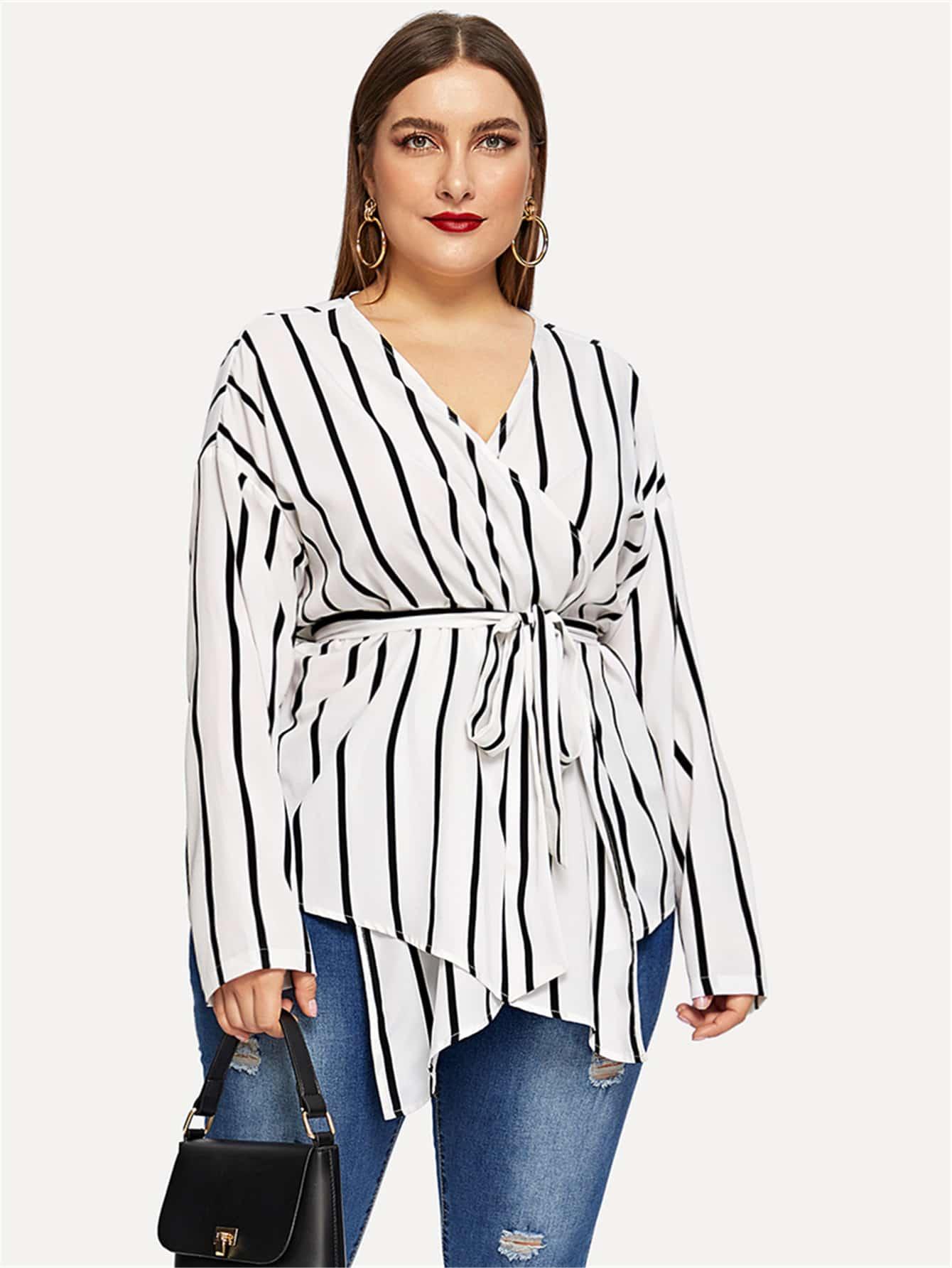 Купить Размера плюс полосатая блузка с v-образным вырезом и поясом, Franziska, SheIn