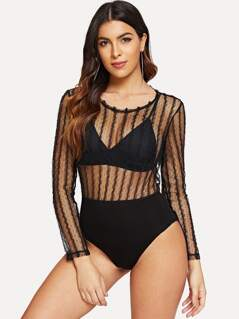 Frilled Mesh Bodysuit Without Bra