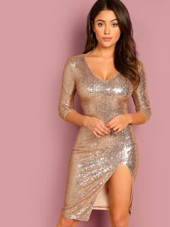 Deep V Neck High Slit Sequin Dress