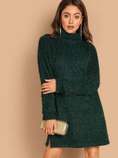 High Neck Split Hem Fuzzy Dress