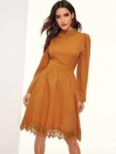 Guipure Lace Trim Fit & Flare Dress