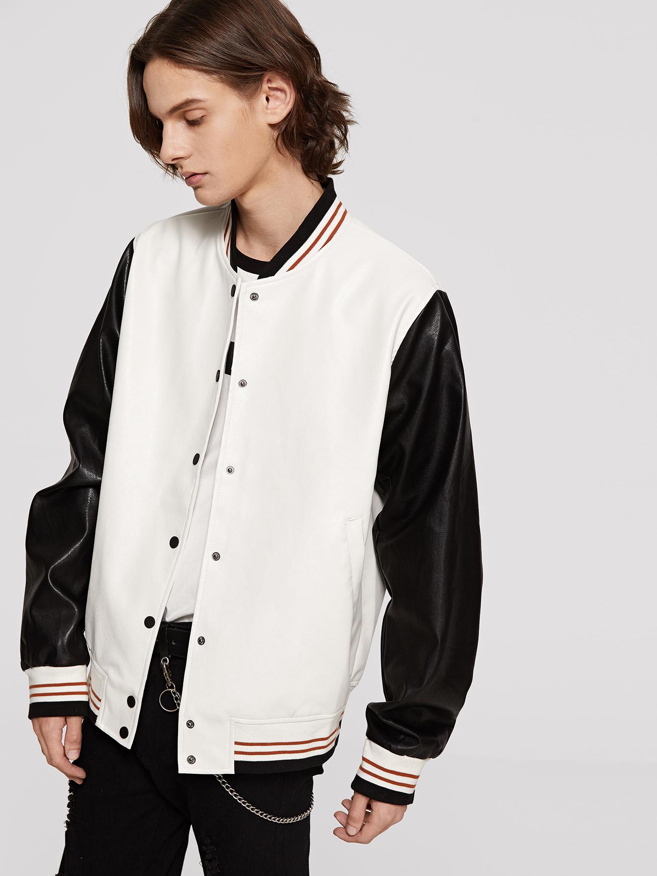 Купить Мужская двухцветная куртка с искусственным мехом, Ismael, SheIn