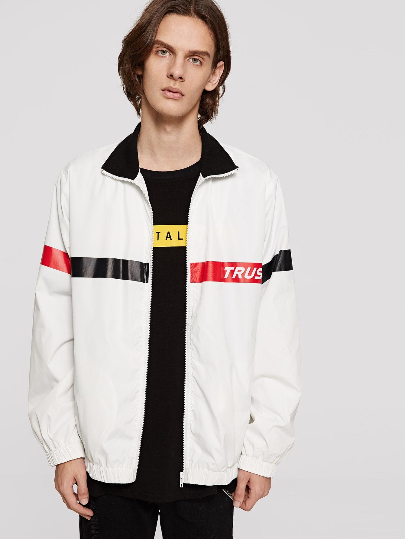 Купить Мужская куртка с контрастным воротником и молнией, Ismael, SheIn