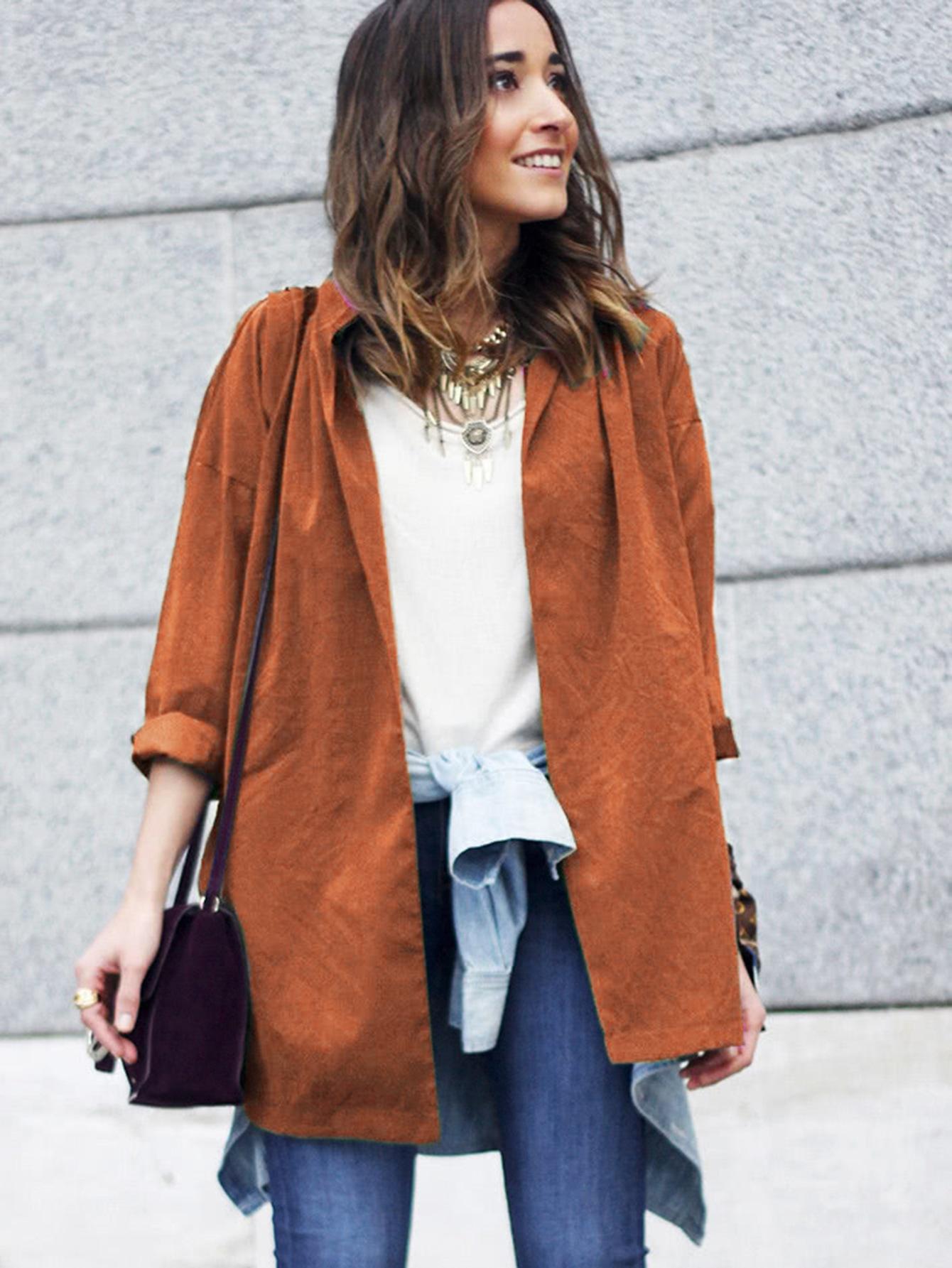 Сплит-боковое пальто с поясом SheIn