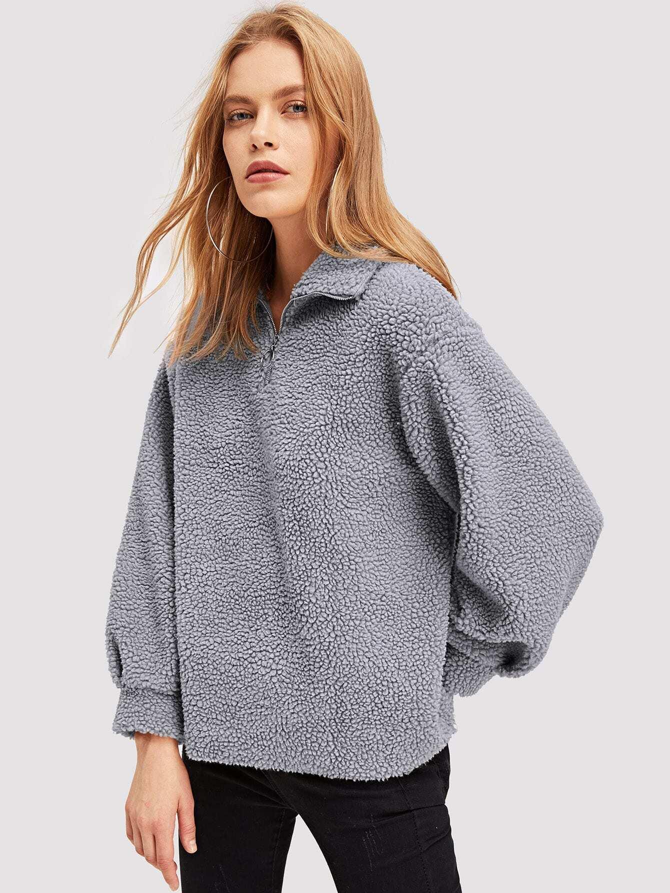Купить Пушистая куртка на молнии, Kate C, SheIn