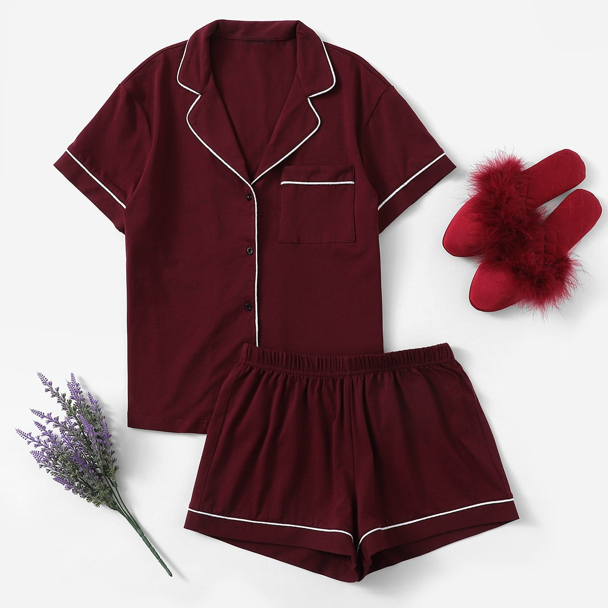 Paars Casual Vlak Lounge kleding Knoop