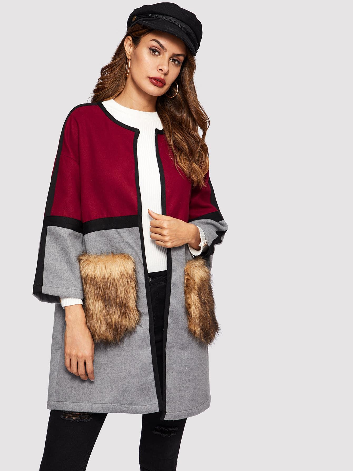 Купить Открытое пальто с карманом из искусственных мехах, Andy, SheIn