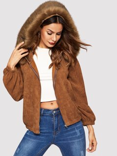 Faux Fur Detail Corduroy Hooded Jacket