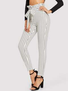 Frill Trim Bow Tie Waist Striped Pants