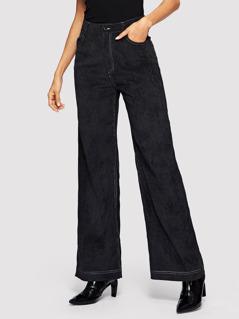 Contrast Stitch Wide Leg Corduroy Pants