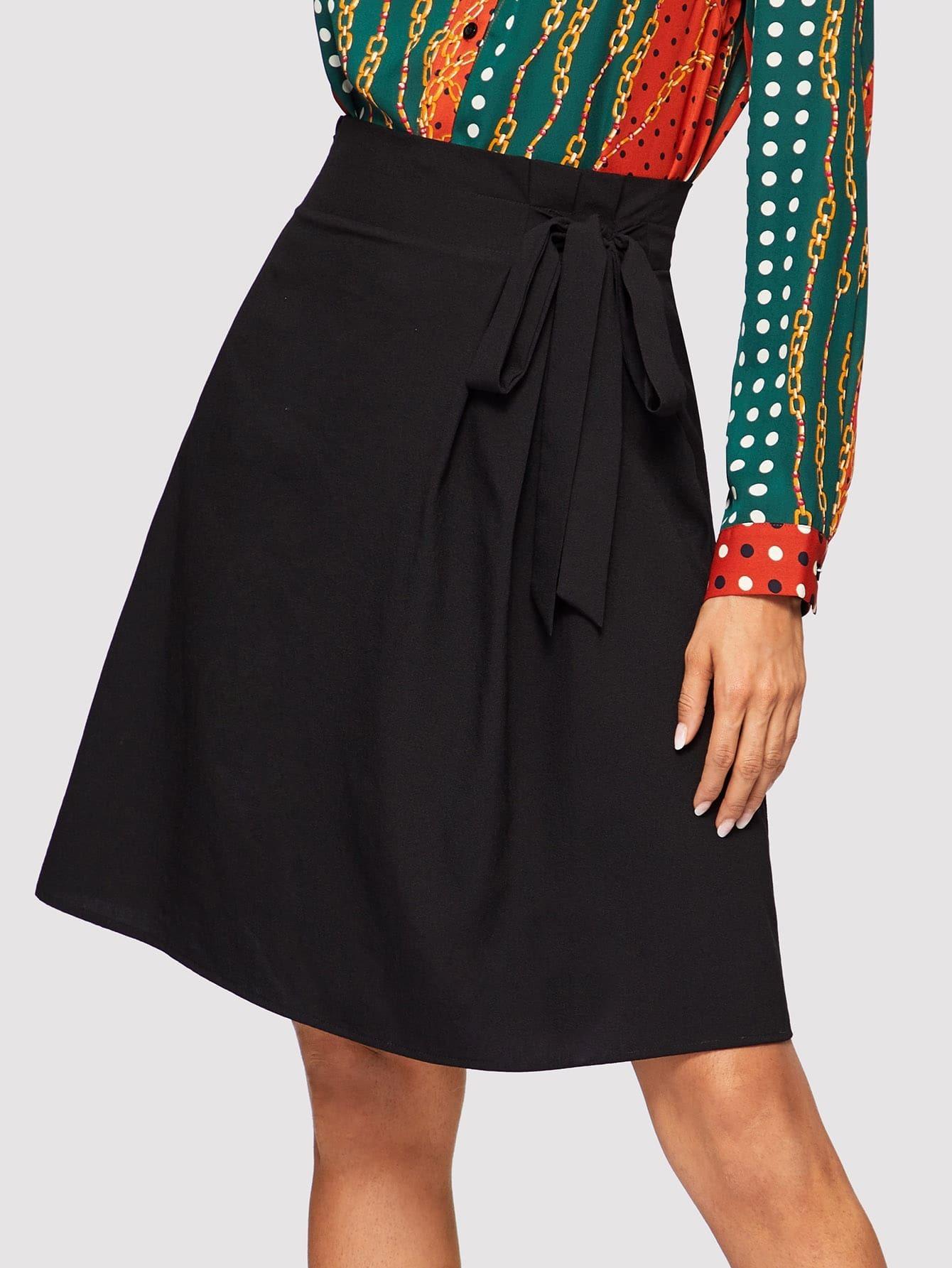 Купить Однотонная юбка с узлом, Andy, SheIn