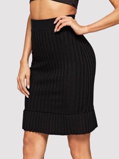 Rib Knit Bodycon Skirt